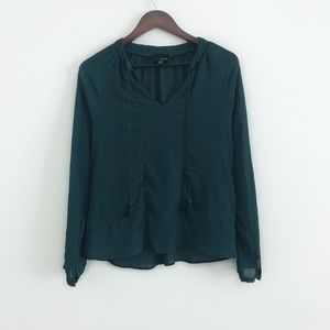 Greylin Trina Pleated Blouse in Teal Green